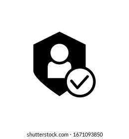 User protection icon vector in black solid flat design icon isolated on white background