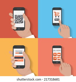 User purchase in the online store Flat design modern vector illustration icons in stylish colors of hand touch screen with business icons, mobile phone scanning qr-code and wireless e-commerce usage.