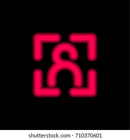 User red glowing neon ui ux icon. Glowing sign logo vector