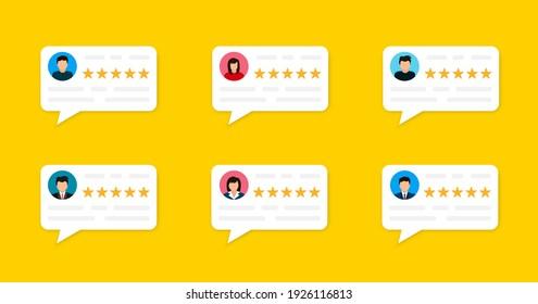 User reviews and feedback concept. User reviews online. Customer feedback review experience rating concept. User client service message. Vector illustration. EPS 10
