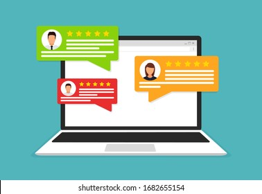 User reviews flat icon or feedback. Flat icon style vector illustration