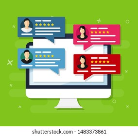 User reviews. Flat icon style vector illustration