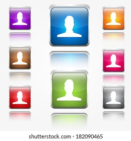 User Round Corner Vector Web Icon Button Set