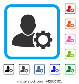 User Settings Gear icon. Flat gray pictogram symbol inside a light blue rounded frame. Black, gray, green, blue, red, orange color versions of User Settings Gear vector.