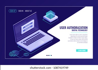 User sign up or sign in page, feedback, laptop with authorization form, web page template banner isometric vector