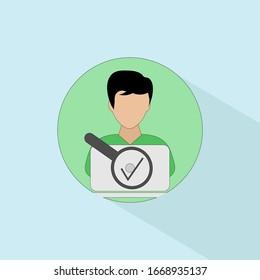 User Testing icon. User centered design flat vector illustration. Data visualization design element. Flat design style modern user experience icon.