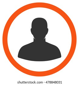 User vector bicolor rounded icon. Image style is a flat icon symbol inside a circle, orange and gray colors, white background.