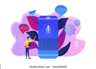 User with voice controlled smart speaker or voice assistant. Voice activated digital assistants, home automation hub, internet of things concept, violet palette. Vector isolated illustration.