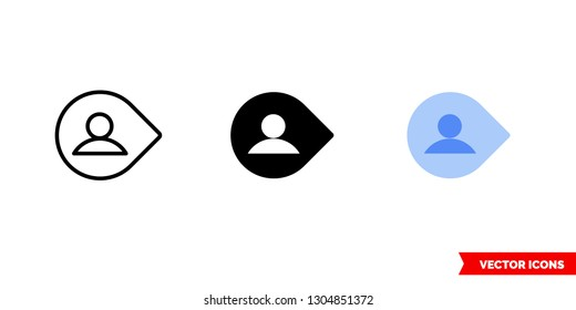 Username filled icon of 3 types: color, black and white, outline. Isolated vector sign symbol.