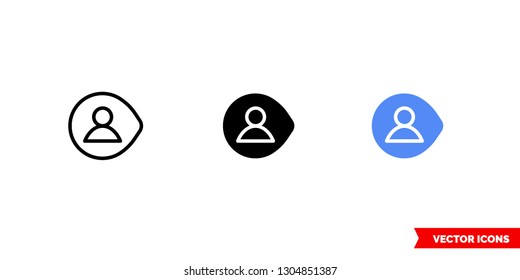 Username icon of 3 types: color, black and white, outline. Isolated vector sign symbol.