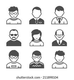 Users avatars. Occupation and people icons. Vector illustration. Simplus series