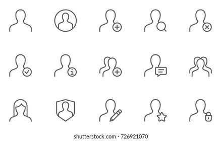Users and Avatars Vector Line Icons. Teamwork and Businessman symbols. 48x48 Pixel Perfect.