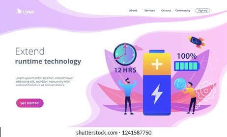 Users and battery performance and longevity with charge indicator and time. Battery runtime, extend runtime technology, long battery life concept. Website vibrant violet landing web page template.