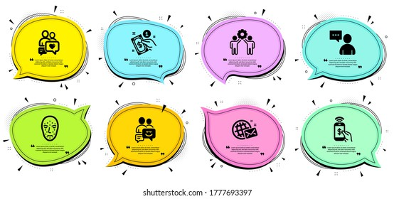 Users chat, Face biometrics and Dating chat signs. Chat bubbles with quotes. Phone payment, World mail and Payment method line icons set. Employees teamwork, Communication symbols. Vector