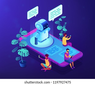 Users with digital gadgets sitting on smartphone screen and chatting with chatbot. Social media bots, messenger chat-bot, auto reply software concept. Ultraviolet neon vector isometric 3D illustration