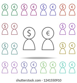 users dollar euro icon. Elements of finance in multi color style icons. Simple icon for websites, web design, mobile app, info graphics