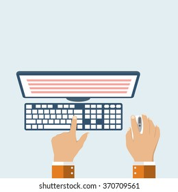 User's hands on  keyboard and mouse of computer. Desk office worker concept. Computer, internet, typing. Flat style design, vector illustration.  Modern concept programmer.