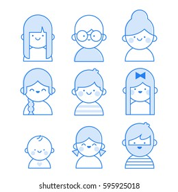 Users icon line illustration: man, woman, kids, baby