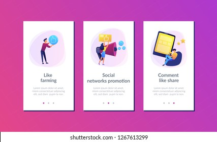 Users with like and share icons and megaphone. Like comment share giveaway, social networks promotion, like farming concept on white background. Mobile UI UX GUI template, app interface wireframe
