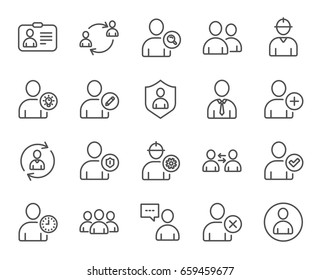 Users line icons. Profile, Group and Support signs. ID card, Teamwork and Businessman symbols. Person talk, Engineer and Human Management. Quality design elements. Editable stroke. Vector