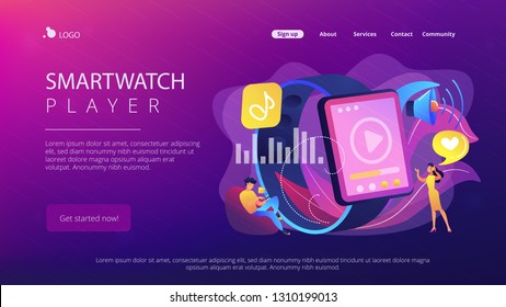 Users listening and huge smartwatch with player icon. Smartwatch player, smartwatch media and portable media player concept on white background. Website vibrant violet landing web page template.