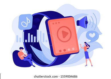 Users listening and huge smartwatch with player icon. Smartwatch player, smartwatch media and portable media player concept on white background. Pinkish coral bluevector isolated illustration