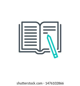 User's Manual book outline flat icon. Single high quality outline logo for web design or mobile app. Thin line sign design logo guide book. Black and blue icon pictogram isolated on white background