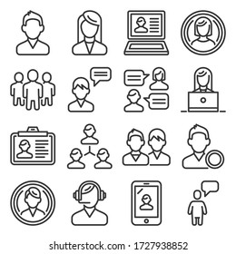 Users and People Icons Set on White Background. Line Style Vector