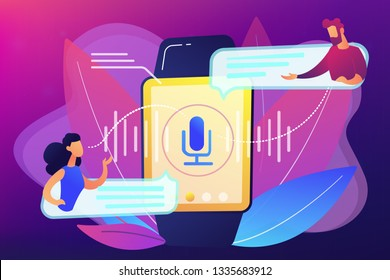 Users translating speech with smartwatch. Digital translator, portable translator, electronic language translator concept on ultraviolet background. Bright vibrant violet vector isolated illustration
