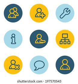 Users  web icons, blue and yellow circle buttons