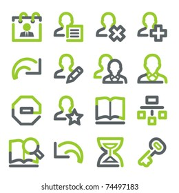 Users web icons. Green gray contour series.