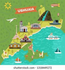 Ushuaia town map with landmark advertising. Argentina sightseeing places like Bridal Veil waterfall, Capsula del Tiempo Philco, Casa Beban, monument Galicia, church, museum del Fin del Mundo