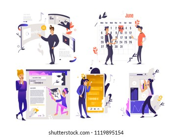 Using application set - computer and mobile software with user-friendly interface concept isolated on white background. People customizing app settings in cartoon vector illustration.