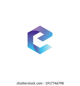 using the concept of the letter E and cube with full color, into a unique and interesting concept