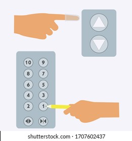 using finger cover to press elevator, how to use a pencil to press a lift button. concept illustration vector design