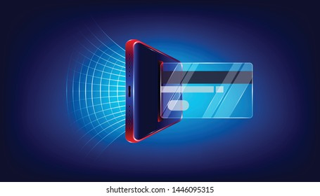using glass credit card via luxury smartphone for your business marketing. background style. vector illustration eps10
