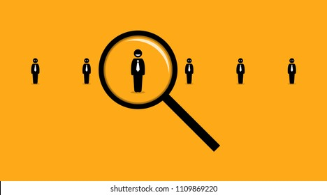 Using a magnifying glass searching for the right employee among many others job seeker. Vector artwork depicts the concept of employment, hiring, headhunter, recruits,  and human resources.