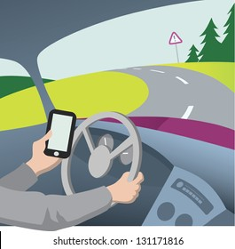 Using mobile phone while driving vector illustration