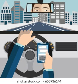 Using mobile phone while driving vector illustration.