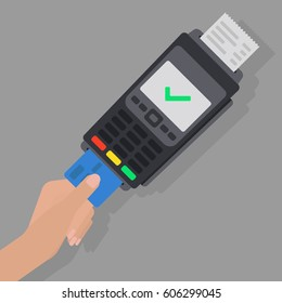 Using Pos terminal concept. Hand pushing credit card in to bank card reader. Credit card payment. Vector illustration in flat style. Transaction approval process.