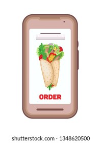 Using smartphone to order food delivery online. Phone with the image of a burrito and order button. Isolated object on a transparent background.