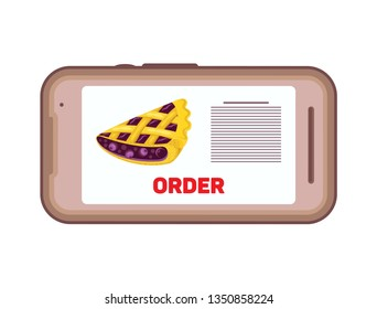 Using smartphone to order food delivery online. Phone with the image of a pie and order button. Isolated object on a transparent background.