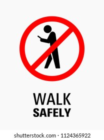 Using smartphone while walking sign vector illustration.