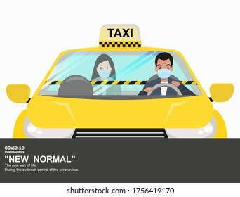 Using a taxi In which people have to wear a mask and that requires a barrier to prevent the outbreak from covid19. in the taxi.  to maintain physical distance. New normal (New way of life).