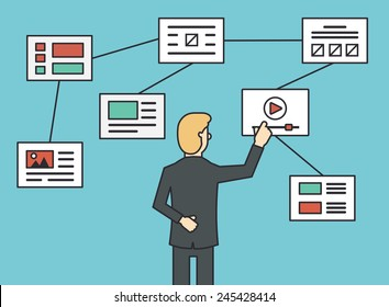Using website flowchart sitemap connecting, working algorithm and navigation site structure. Flat line style - vector illustration
