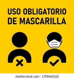 """Uso Obligatorio de Mascarilla (""""Mandatory Usage of Face Mask"""" in Spanish) Icon. Vector Image."""