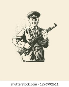 USSR, circa 1970: Lieutenant of the Soviet Army with kalashnikov and a smile. Illustrative Editorial. Vector illustration
