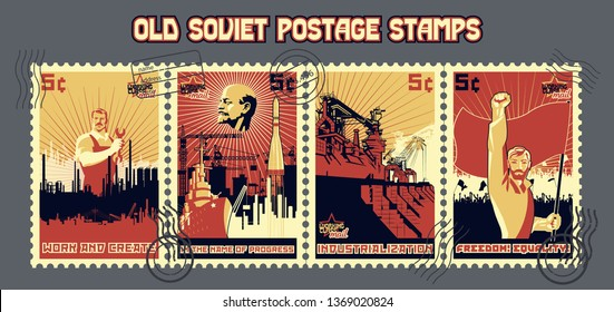 USSR Old Work and Revolution Propaganda Postage Stamps