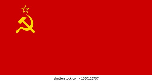 USSR or Soviet Union or Union of Soviet Socialist Republics official national flag The Hammer and Sickle and The Red Banner sign symbol icon flat vector