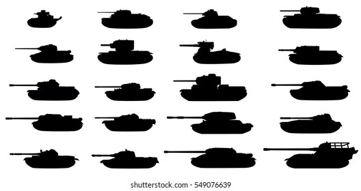 The USSR tanks silhouettes set. Vector on white background